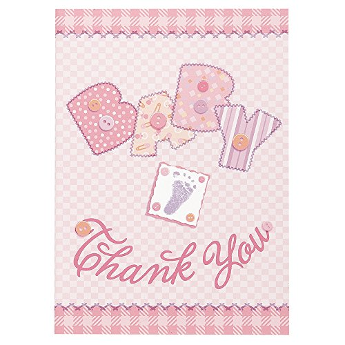 Pink Stitching Shower Thank Cards