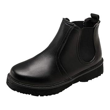 Casual Botines cortos para mujer,Sonnena Zapatos planos de color sólido de mujer Martain Boots Cuero Botas hasta el tobillo Zapatos de punta redonda: ...