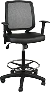 Office Chair,Armchair Fabric Seat,Swivel Chair with Foot Rest,Mesh Back,Padded Seat Fabric Surface,Home/Office Chair Comfort Foot-Ring,Height Adjustable,Mid Back Mesh Task Chair,by U-Eway (Black PU)