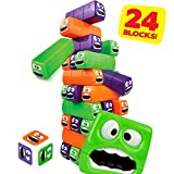 cossy Toppling Tower Tumbling Stacking Board Games, Wobbly Worms Building Blocks with Robust Casing and Three Colors for Kids - Ages 3+ with 24 Pieces