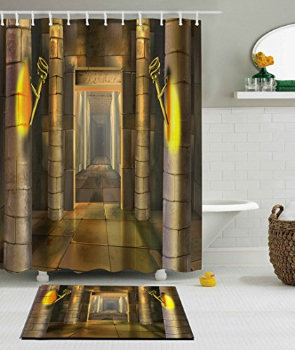 LB Egyptian Pyramid Temple Illustration Ancient Egypt Building Bathroom Set, 70x70 Shower Curtain Waterproof Mildew Free, 15x23 Flannel Surface Rug