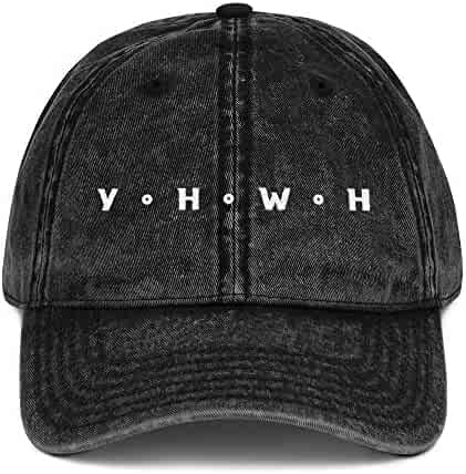 4d5f044026f YHWH Distressed Hat Yahweh Christian Vintage Hat Black