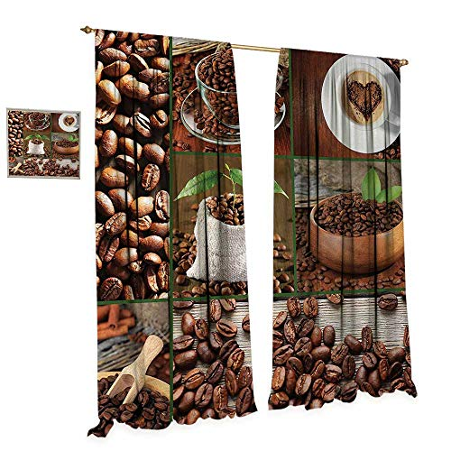 - Anniutwo Brown Room Darkening Wide Curtains Collage of Coffee Beans in Cups and Bags with Green Leaves on Wooden Table Photo Customized Curtains W108 x L96 Brown Green