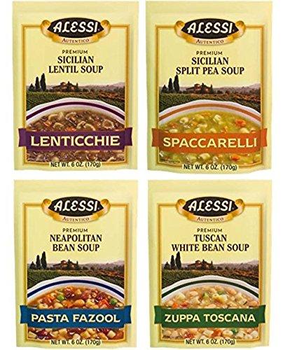 Alessi Athentic Italian Soup Mix 4 Flavor Variety Bundle: (1) Tuscan White Bean Soup, (1) Sicilian Lentil Soup, (1) Sicilian Split Pea Soup, and (1) Neapolitan Bean Soup, 4-6 Oz Ea (Flavor Soup Mix)