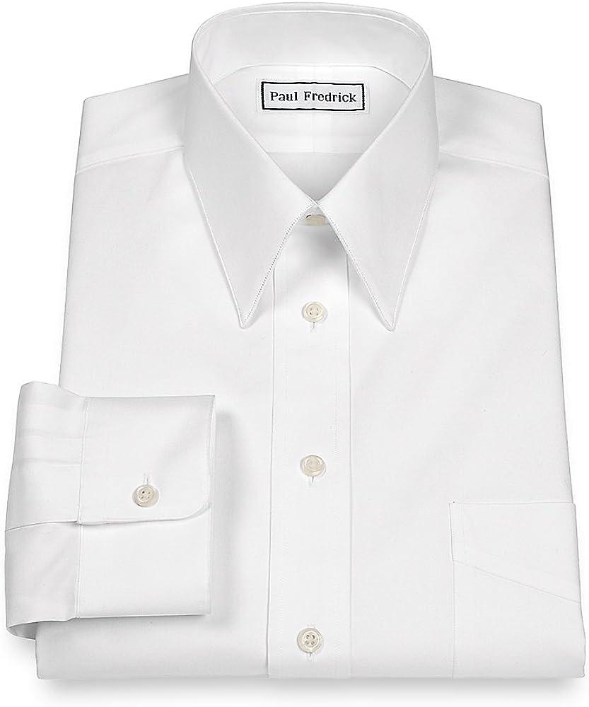 Paul Fredrick Mens Pinpoint Edge-Stiched Straight Collar Dress Shirt