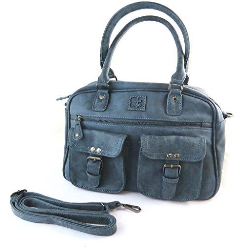 Bolsa de diseñador 'Enrico Benetti'azul de la vendimia - 37x22x11 cm.