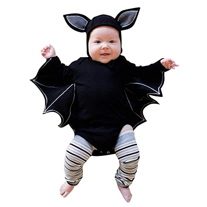 DEELIN Halloween Cosplay Bat Sleeve Romper + Cartoon Ear Hat NiñO ReciéN Nacido Baby Boy Girl Halloween Cosplay Traje Jumpsuit Hat Costume Negro: Amazon.es: ...