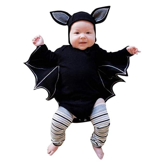 DEELIN Halloween Cosplay Bat Sleeve Romper + Cartoon Ear Hat NiñO ReciéN Nacido Baby Boy Girl