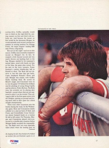 Pete Rose Autographed Signed Magazine Page Photo Cincinnati Reds S39139 PSA/DNA Certified Autographed MLB Magazines