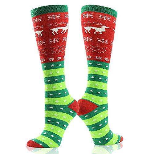 Novelty Cute Socks, Gmark Women's Winter Warm Socks Stocking Filler Christmas Gift Elk Snow And Love Christmas Socks