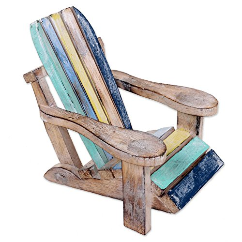 NOVICA Decorative Artisan Hand Carved Albesia Wood Chair Statuette, 'Beach Chair' by NOVICA