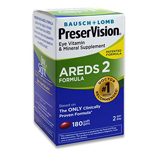 Bausch and Lomb PreserVision AREDS 2 Formula Eye Vitamin and Mineral Supplement - 180 Softgels by Bausch & - Lomb Eye Bausch Vitamins