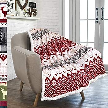 PAVILIA Premium Christmas Sherpa Throw Blanket | Christmas Decoration, Fleece, Plush, Warm, Cozy Reversible Microfiber Holiday Blanket 50 x 60