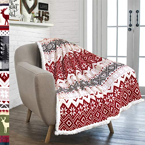 PAVILIA Premium Christmas Sherpa Throw Blanket | Christmas Decoration, Fleece, Plush, Warm, Cozy Reversible Microfiber Holiday Blanket 50 x 60 (Blankets Fuzzy Christmas)