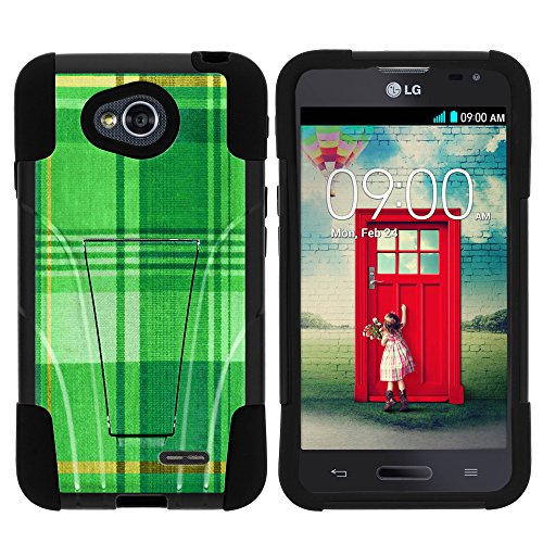 LG Ultimate 2 Phone Case, Durable Hybrid STRIKE Impact Kickstand Case with Art Pattern Designs for LG Optimus L70 MS323, LG Optimus Exceed 2 VS450PP, LG Realm LS620, LG Ultimate 2 L41C (Metro PCS, Verizon, Boost Mobile) from MINITURTLE | Includes Clear Screen Protector and Stylus Pen - Plaid Green