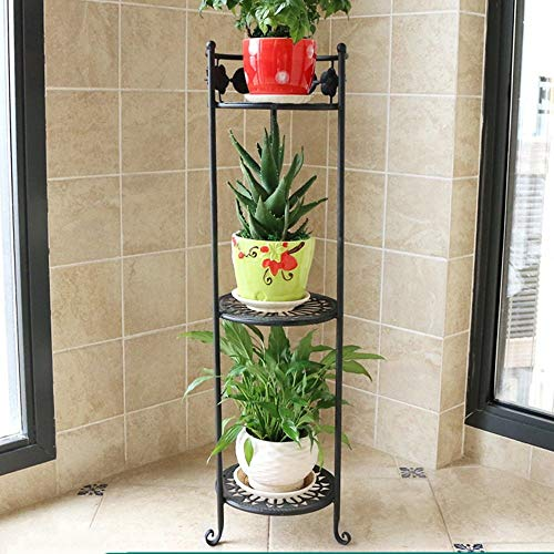Giow Iron Flower Rack Multi - Storey Floor - Style Floor pots Balcony Stand The Living Room is Simple and Colorful (3 Colors Optional) (Size Optional) Stands (Color : A, Size : 2378cm) ()
