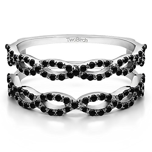 0.63 ct. Black Diamonds Ring Guard in 14k White Gold (0.63 ct. twt.) (Size 3 to 15 in 1/4 Size Intervals)