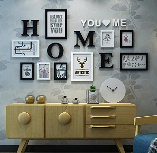 Yxsd Vintage Photo Frame Wall Gallery Kit Home Decorative Wooden Picture Frame Sets,Europe Style 9 Pcs/Set Black White