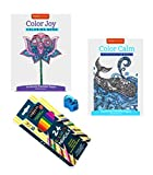 Adult Coloring Books Joy and Calm with 24 Colored Pencils and Sharpener 4 Piece Bundle