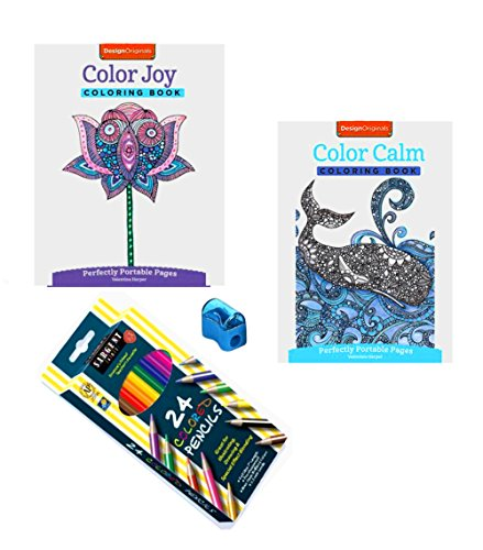 4 Piece Sharpener (Adult Coloring Books Joy and Calm with 24 Colored Pencils and Sharpener 4 Piece Bundle)