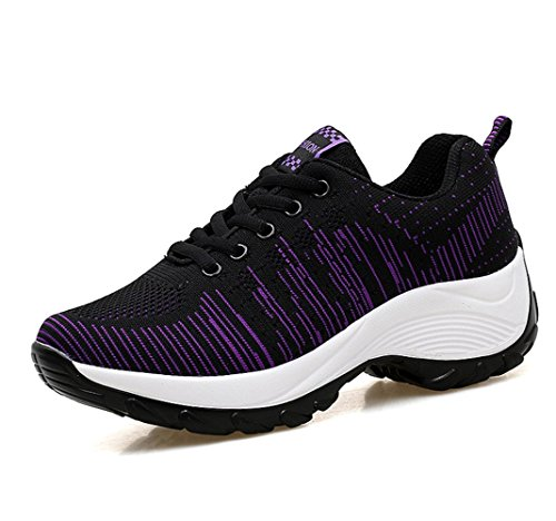 Zapatillas Verano mogeek y Negro Calzados de Mujer de Para Deportivos Primavera Running 6gwq86