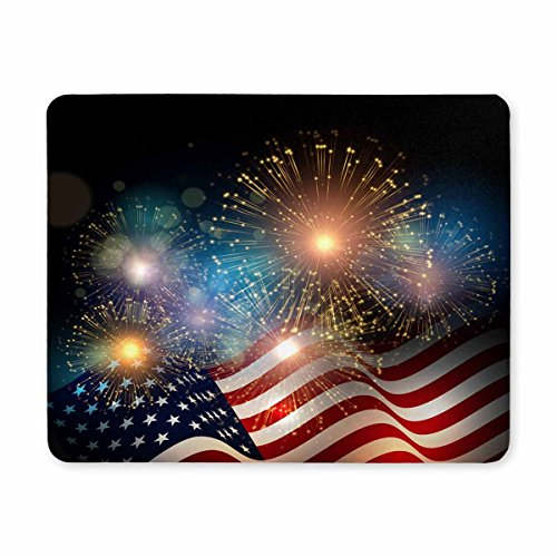 InterestPrint United States Flag Fireworks Background for USA Independence Day, Fourth of July Celebrate Standard Size Rectangle Non-Slip Rubber Mousepad -
