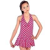 Weixinbuy Girl's Polka Dot Halter Backless Swimsuit Red 16