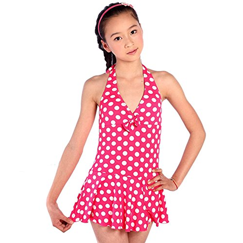Weixinbuy Girl's Polka Dot Halter Backless Swimsuit Red 14