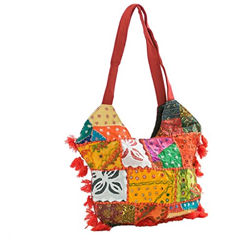 Ankit Red Embroidered Hippie Indian Ethnic patchwork Bohemian Handmade Gypsy Crossbody Tote Bag for Grocery Shopping, Beach, School Books, Work.