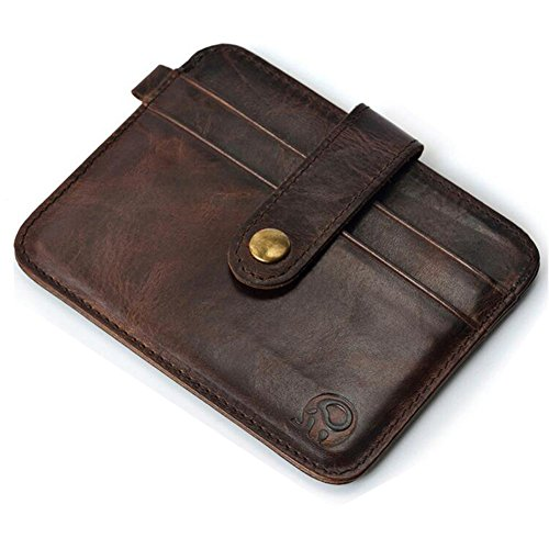 Men's Distressed Leather Minimalist Card Holder Slim Front Pocket Wallet,Dark Brown