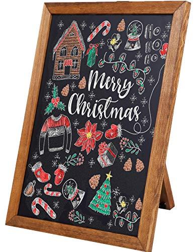 (Standing Chalkboard Sign [11 x 14] - Premium Rustic Chalk Board, Pine Wood Framed Chalkboard, Regular or Liquid Chalk Markers, Kitchen Countertop Sign, Rustic Decorations for Wedding Birthday Bar)