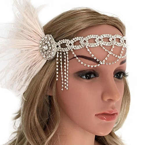 Roaring 20's Flapper Rhinestone Chain Tassel Headband with Feather Vintage 1920s -