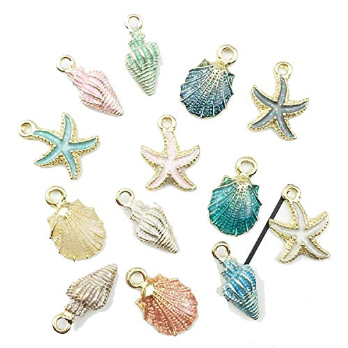CAIYCAI Drop Oil Alloy Starfish Jewelry Conch Charms Making Handmade Bracelet Earrings Pendant 13Pcs/Set DIY (Starfish Murano Glass Earrings)