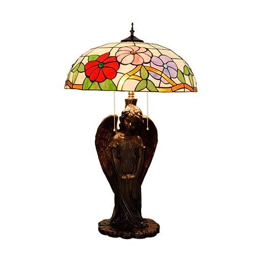 Lámpara de mesa estilo Tiffany Lámpara de mesilla floral ...