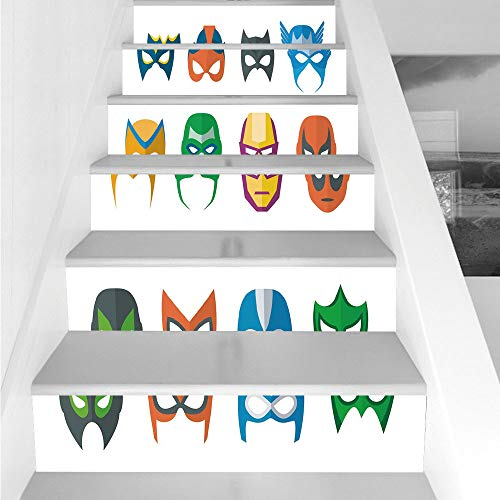Stair Stickers Wall Stickers,6 PCS Self-adhesive,Superhero,Hero Mask Female Male Costume Power Justice People Fashion Icons Kids Display,Multicolor,Stair Riser Decal for Living Room, Hall, Kids Room D