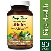 MegaFood: multivitamínico alfa-adolescente, diseñado para apoyar el desarrollo, crecimiento, huesos, dientes, inmunidad, estado de ánimo y energía de adolescentes y niños, vegetarianos, sin gluten, sin OGM, 90 tabletas