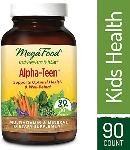 MegaFood - Alpha-Teen, Multivitamin Designed to Support Teenage Boys and Girls' Development, Growth, Bones, Teeth, Immunity, Mood, and Energy, Vegetarian, Gluten-Free, Non-GMO, 90 Tablets (FFP)