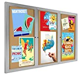 72 x 48 Inch Three-Door Enclosed Bulletin Board for Indoor Use, 6 x 4 Foot Cork Tack Board with Z-bar Wall-mounting Bracket, Silver Aluminum Frame