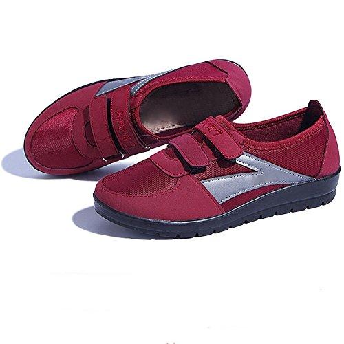 Cybling Zapatos Deportivos Transpirables Y Livianos Para Mujeres Zapatos Planos Con Cordones Zapatillas De Moda Rojas