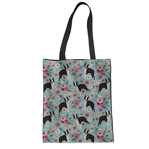 (STARTERY Blue Floral Canvas Handbag 3D Pit Bull Terrier Puzzle Grocery Bags Foldable)