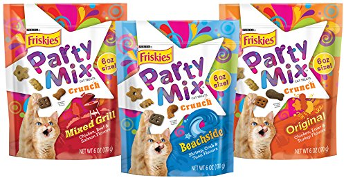 - Friskies Party Mix Cat Treats, Party Mix Greatest Hits Variety Pack Cat Treats, 6-Ounce, Pack of 3