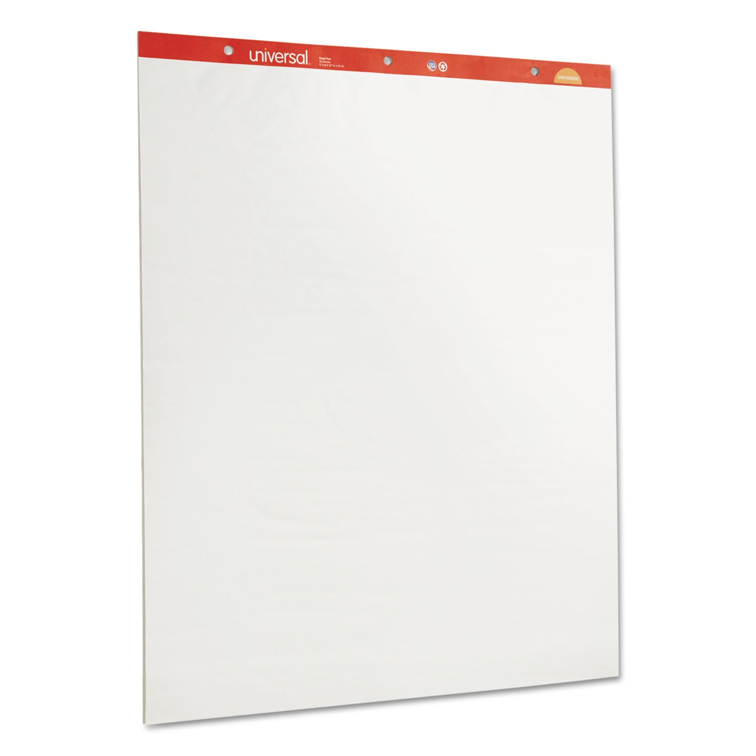 Universal 35600 Recycled Easel Pads, Unruled, 27 x 34, White, 50 Sheet (Case of 2)