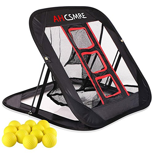 AHCSMRE Golf Chipping Net Pop Up Pitching Practice Target Short Game Master with Yellow Foam Practice Balls by AHCSMRE