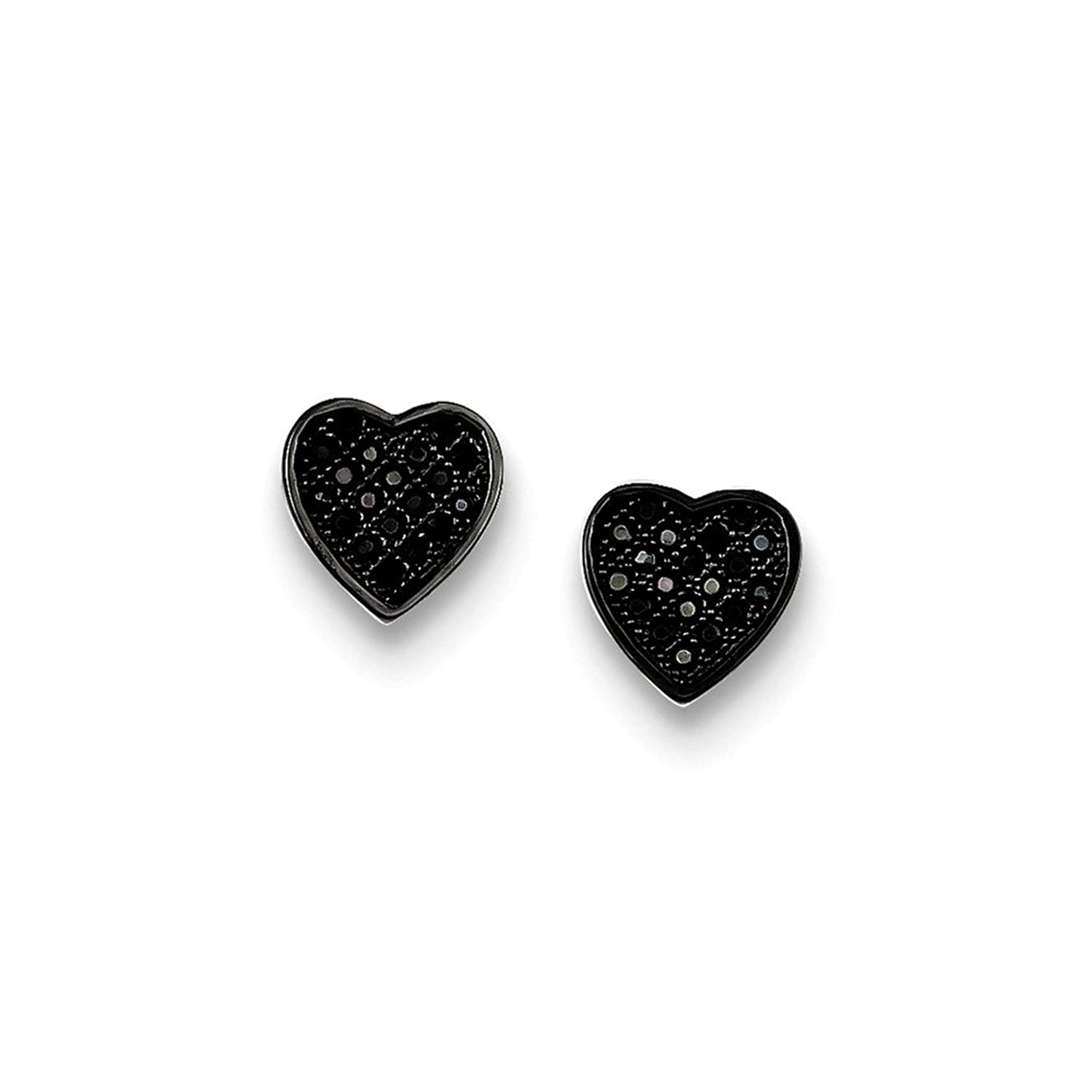Sterling Silver Black CZ Micro Pave Heart Post Earrings,