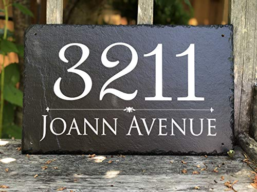 "Beautifully Handcrafted and Customizable Slate Home Address Plaque (16""x10"" 12''x6'' or 18""x8"") Personalized House Sign with and mounting hardware. Improve the curb appeal of your property by Sassy Squirrel (Image #3)"