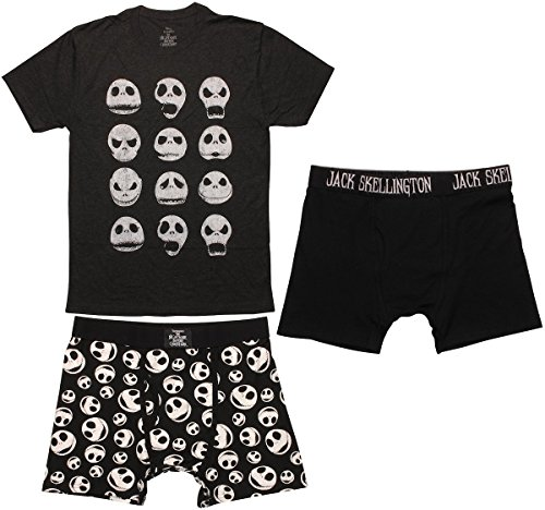 Nightmare Before Christmas Mens Boxers & T-Shirt Set, Charcoal Large