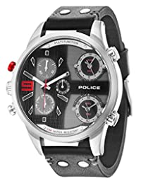 Police Copperhead Men's Wrist Watches, Leather Synthetic Black Band, Black Dial (PL14374JS/02)