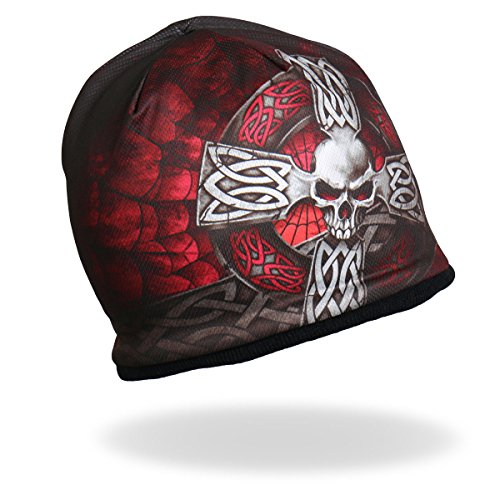 Cycle Designs (Hot Leathers, SUBLIMATED CELTIC CROSS, Original Design, Soft Cotton Authentic Motorcycle Apparel, KNIT HAT)