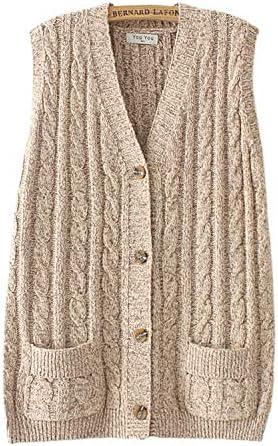Aeneontrue Women's Sleeveless Long Cardigans Front Open Knit Vest Button Down Sweater Tops