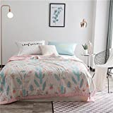 """KFZ Cotton Comforter for Bed Set No Pillow Covers WN Twin Full Queen Princess Comforter Spring Leaf Strawberry Oasis Design for Kids Girls One Piece (Oasis, Pink, Queen 78""""x91"""")"""